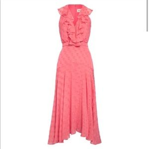 NEW • Saloni • Rita Silk Midi Ruffle Dress Pink